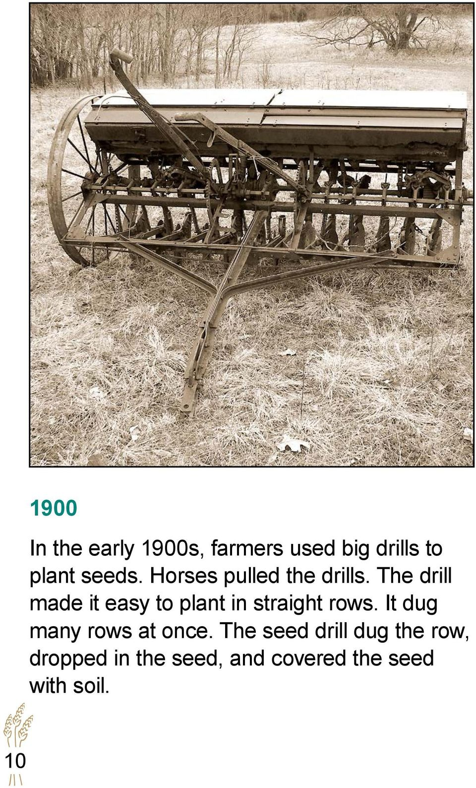 The drill made it easy to plant in straight rows.