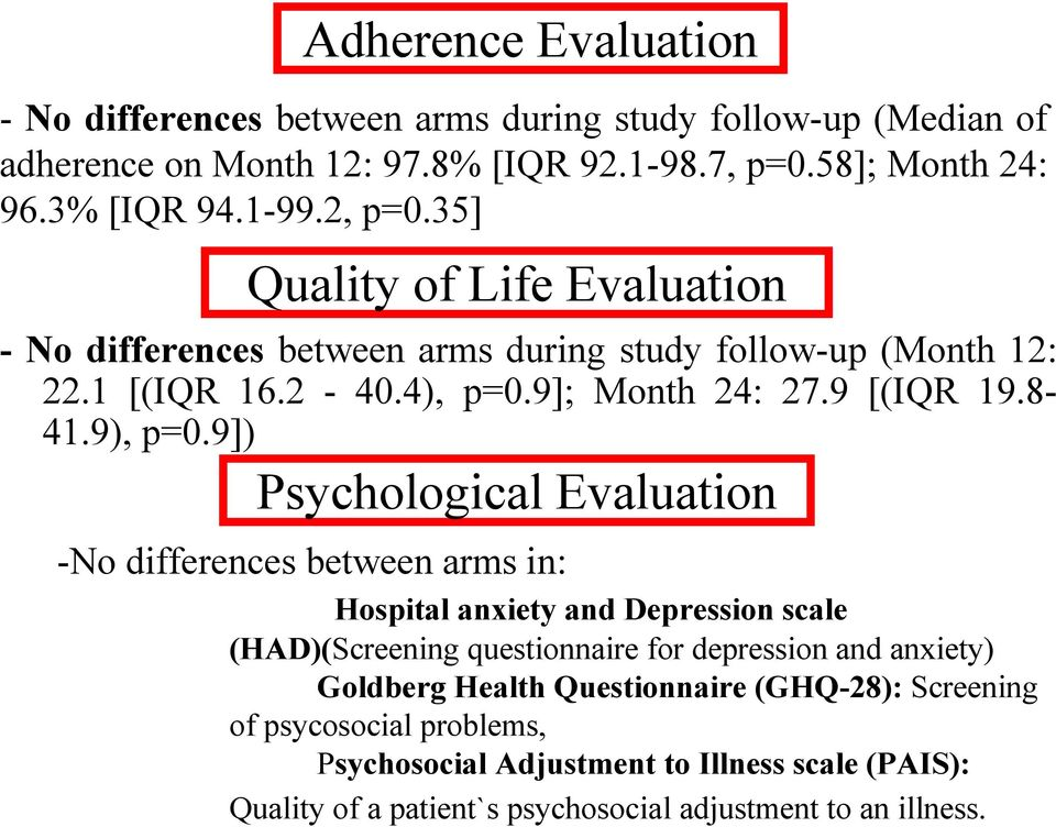 9]) Psychological Evaluation -No differences between arms in: Hospital anxiety and Depression scale (HAD)(Screening questionnaire for depression and anxiety) Goldberg