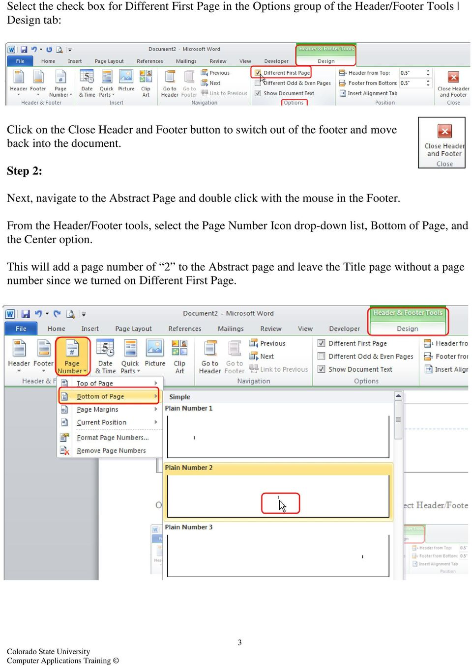 Step 2: Next, navigate to the Abstract Page and double click with the mouse in the Footer.