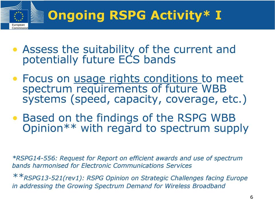 ) Based on the findings of the RSPG WBB Opinion** with regard to spectrum supply *RSPG14-556: Request for Report on efficient awards and