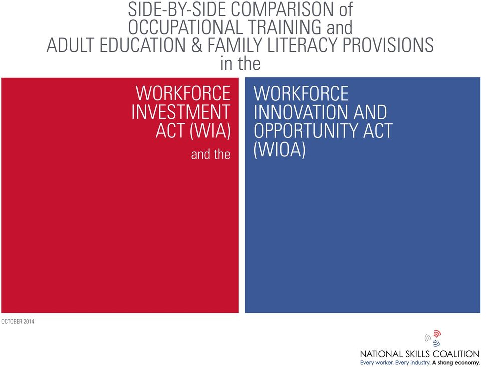 in the WORKFORCE INVESTMENT ACT (WIA) and the