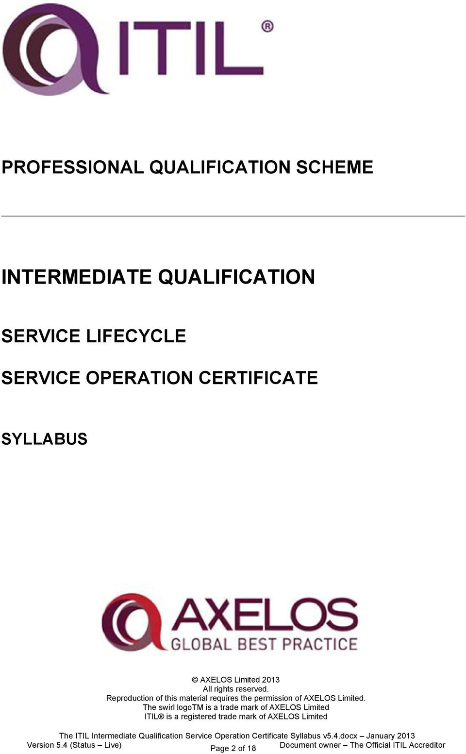 LIFECYCLE SERVICE OPERATION CERTIFICATE