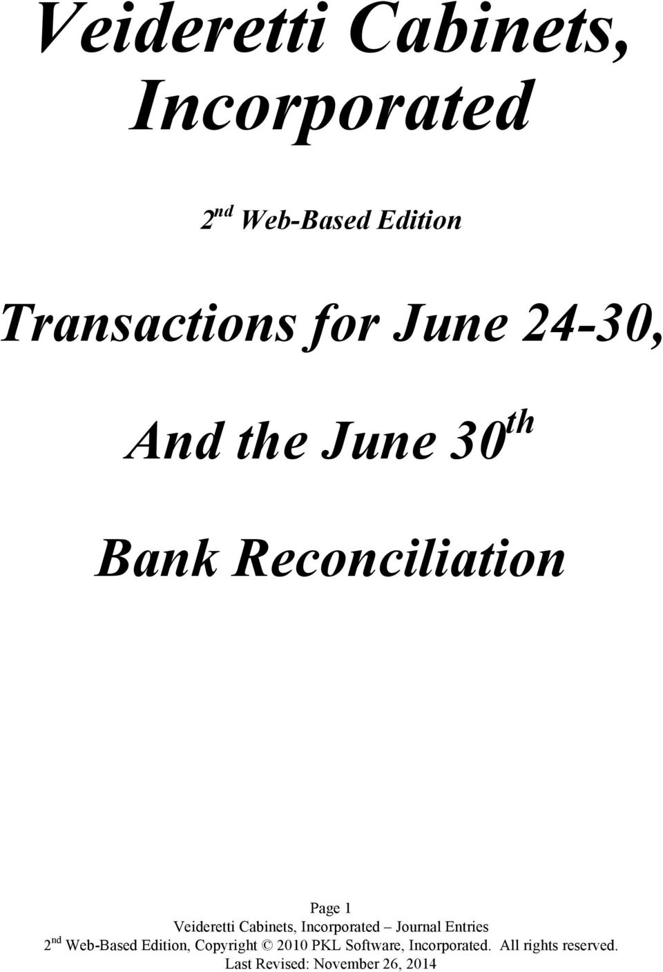 Edition Transactions for June