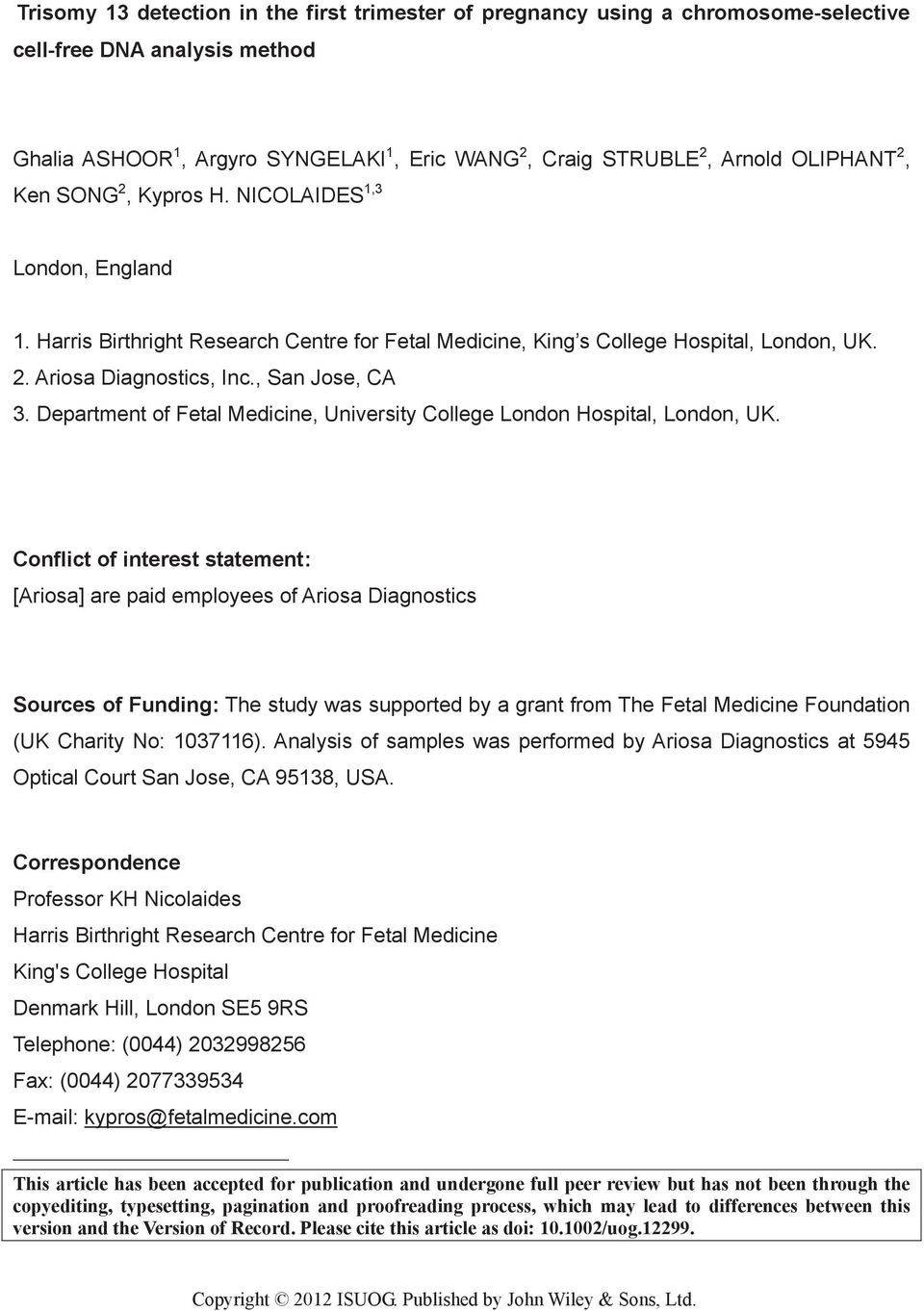 Department of Fetal Medicine, University College London Hospital, London, UK.