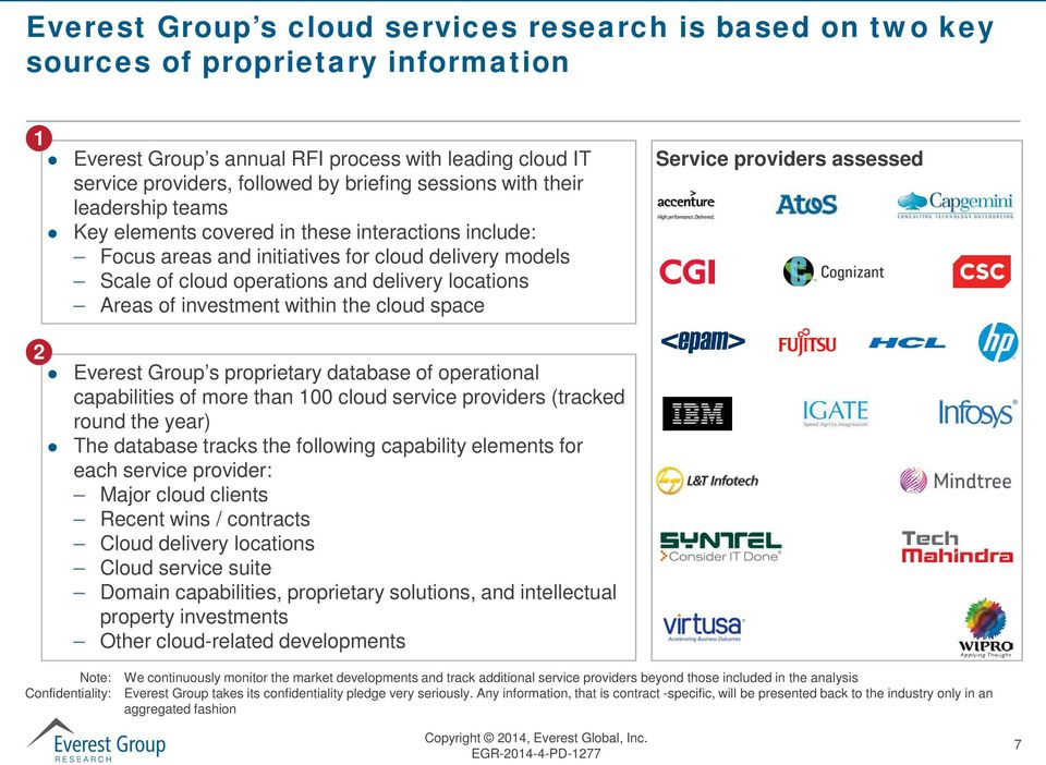 of investment within the cloud space Service providers assessed 2 Everest Group s proprietary database of operational capabilities of more than 100 cloud service providers (tracked round the year)