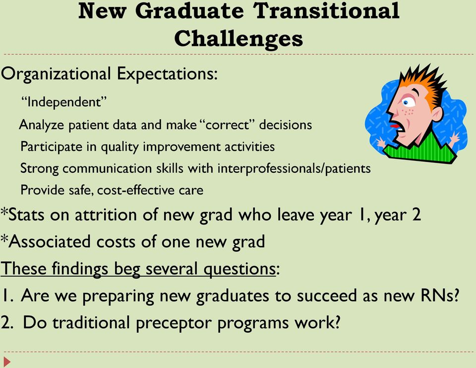 Provide safe, cost-effective care *Stats on attrition of new grad who leave year 1, year 2 *Associated costs of one new