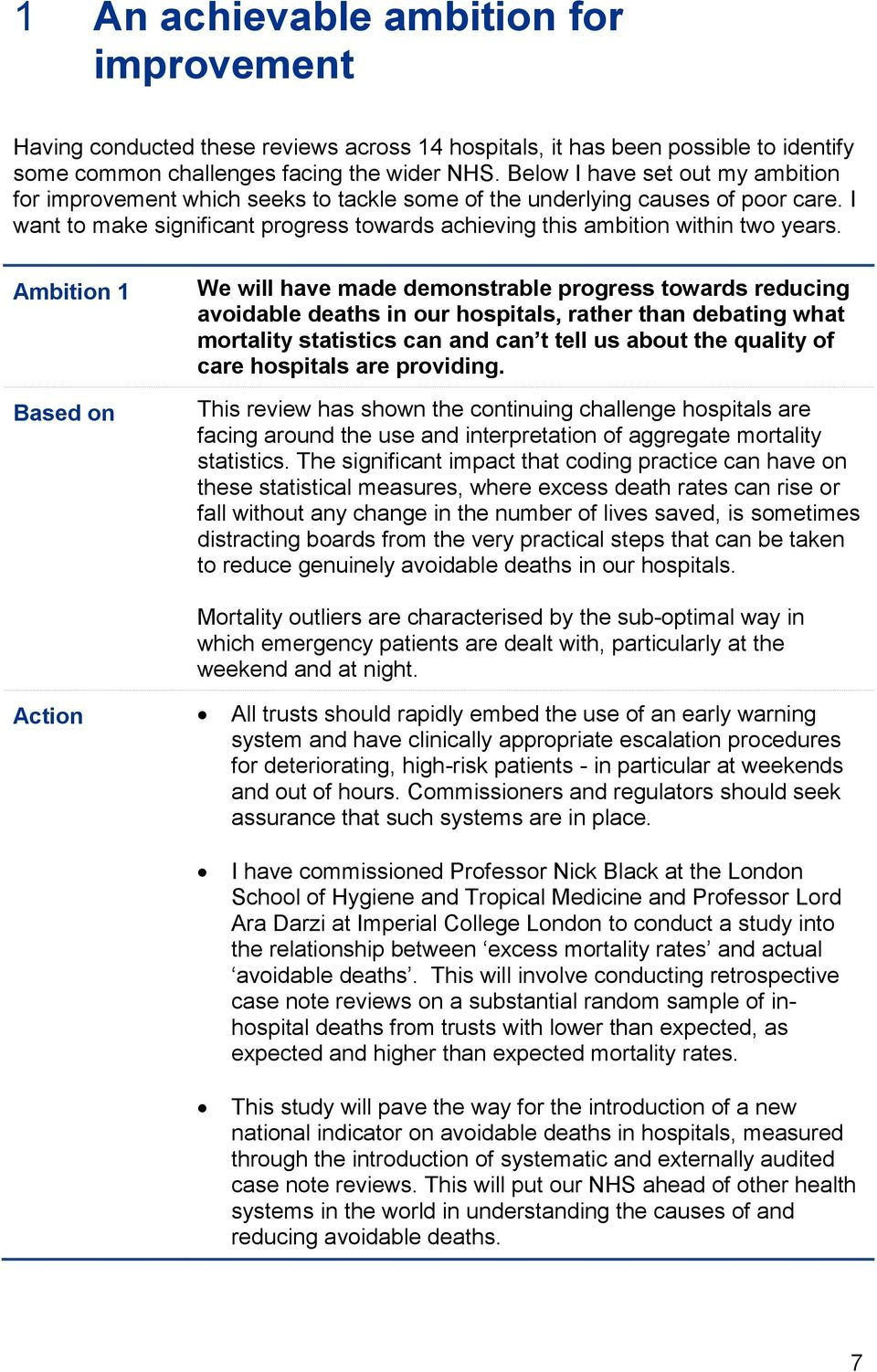 Ambition 1 Based on We will have made demonstrable progress towards reducing avoidable deaths in our hospitals, rather than debating what mortality statistics can and can t tell us about the quality