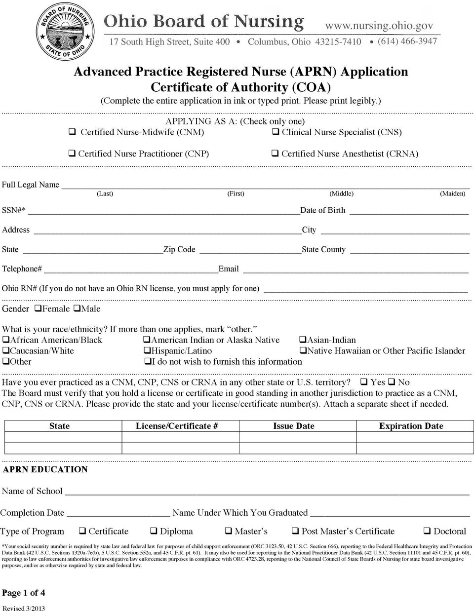 (Complete the entire application in ink or typed print. Please print legibly.).
