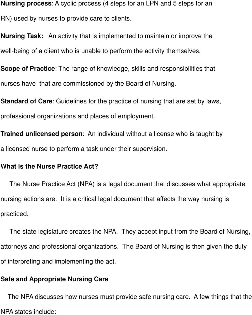 Scope of Practice: The range of knowledge, skills and responsibilities that nurses have that are commissioned by the Board of Nursing.