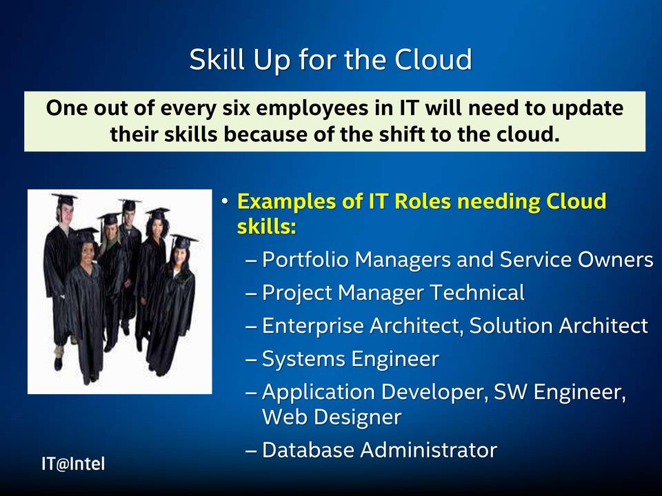 Examples of IT Roles needing Cloud skills: Portfolio Managers and Service Owners Project