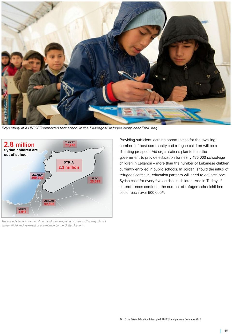 3 million IRAQ 25,519 Providing sufficient learning opportunities for the swelling numbers of host community and refugee children will be a daunting prospect.