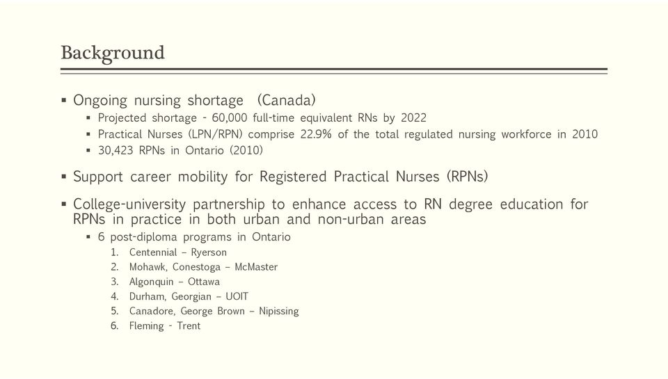 Short And Long Term Outcomes Of A Bridging Rpn Bscn Program