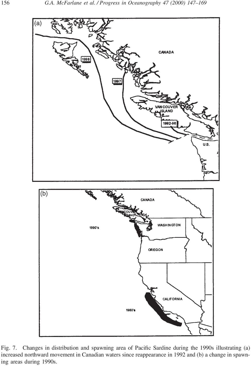 1990s illustrating (a) increased northward movement in Canadian waters
