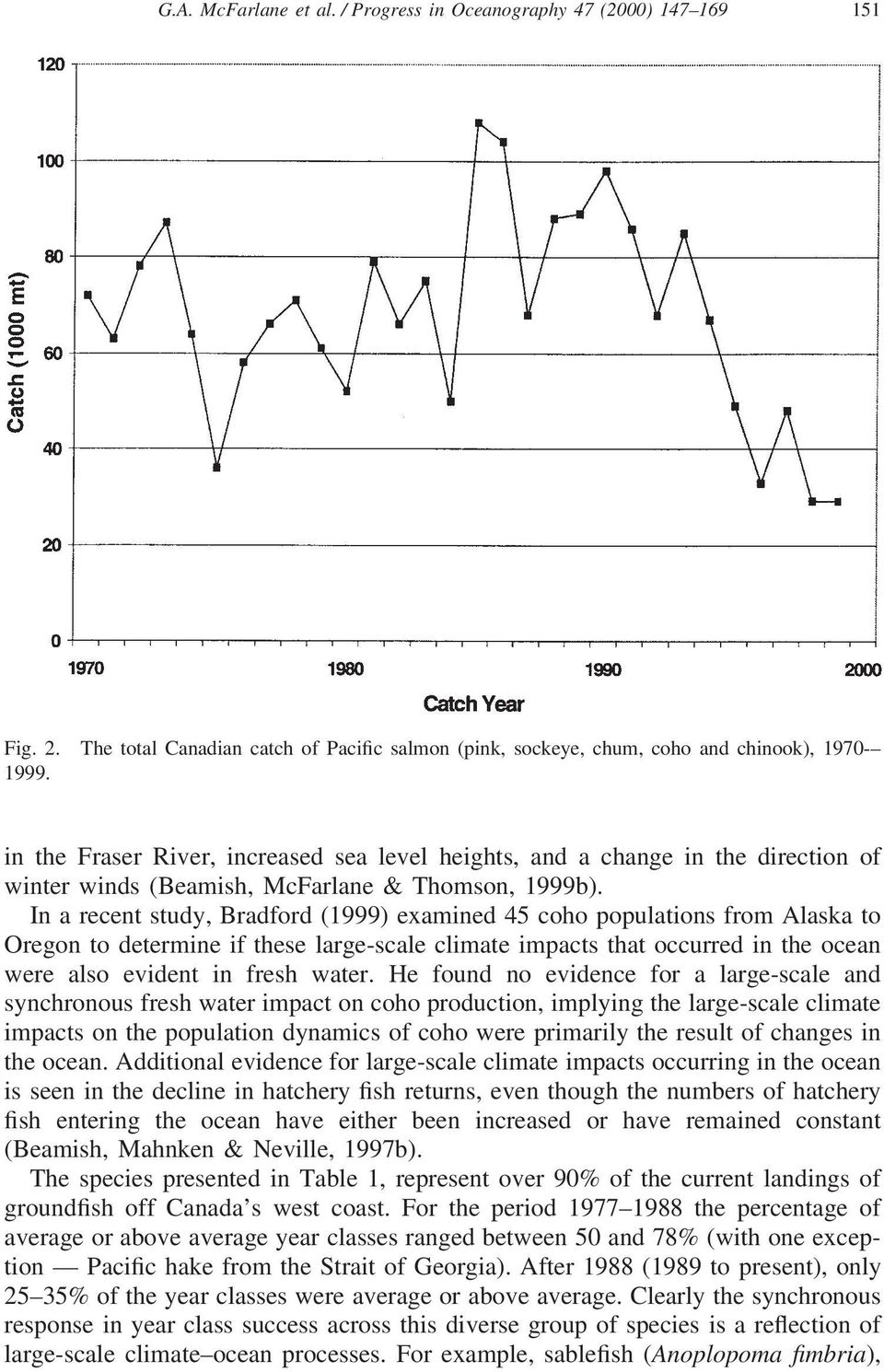 In a recent study, Bradford (1999) examined 45 coho populations from Alaska to Oregon to determine if these large-scale climate impacts that occurred in the ocean were also evident in fresh water.
