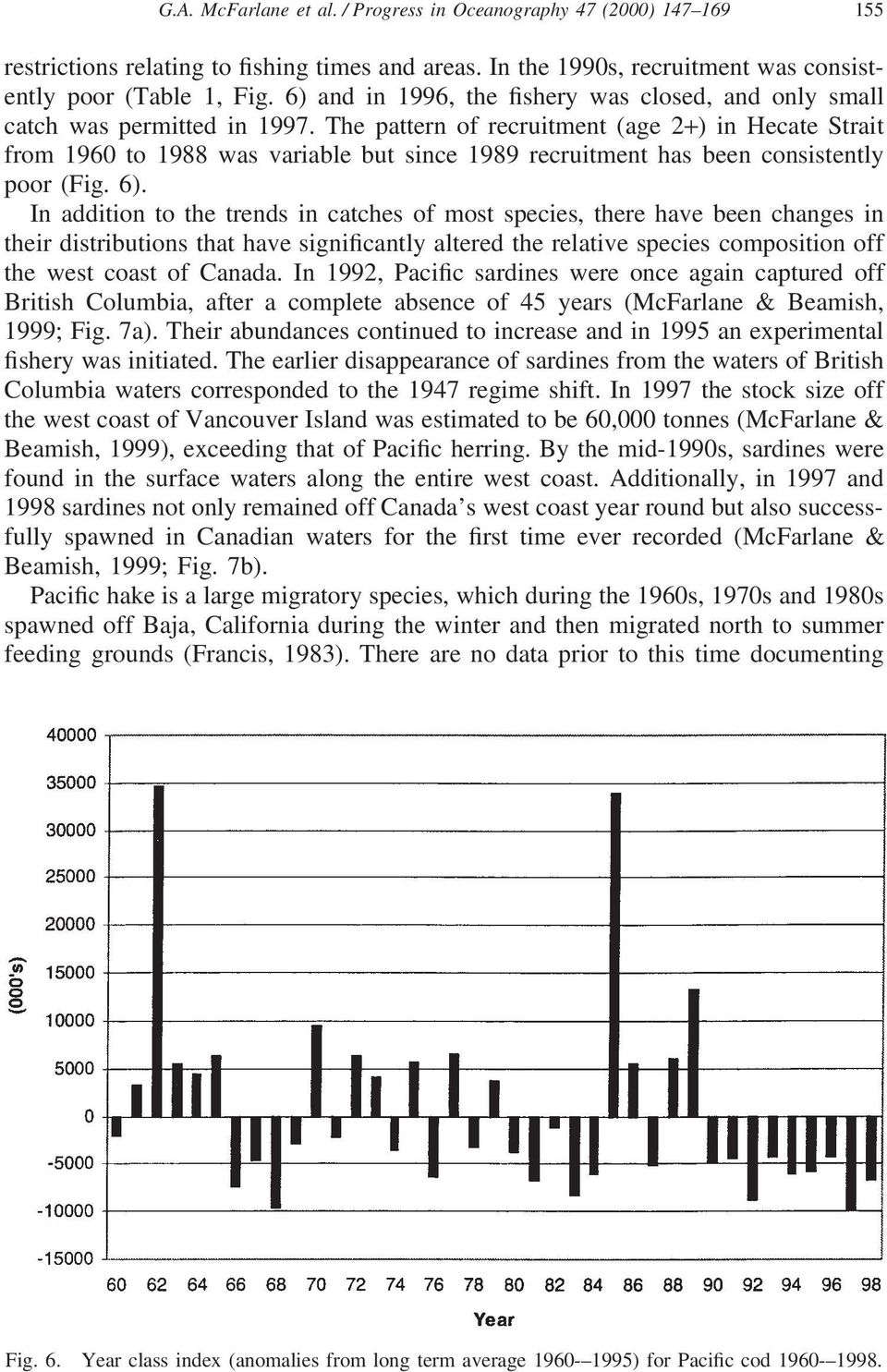 The pattern of recruitment (age 2+) in Hecate Strait from 1960 to 1988 was variable but since 1989 recruitment has been consistently poor (Fig. 6).