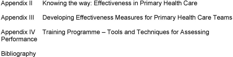 Effectiveness Measures for Primary Health Care Teams