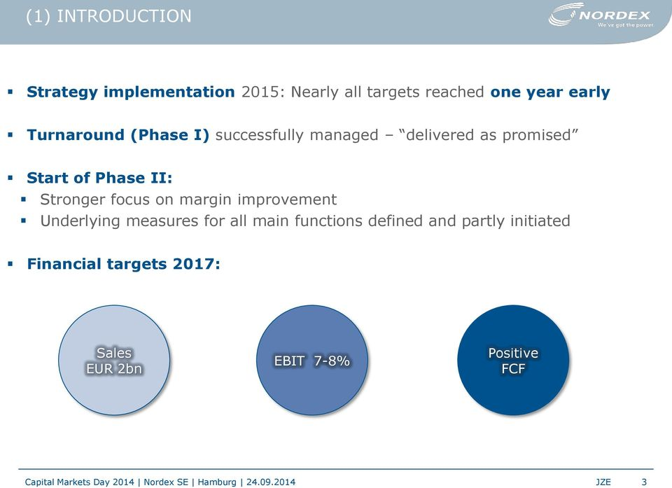 improvement Underlying measures for all main functions defined and partly initiated Financial