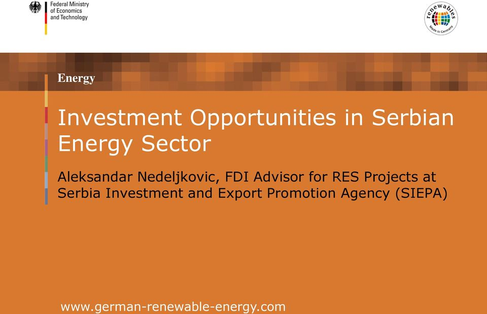 RES Projects at Serbia Investment and Export