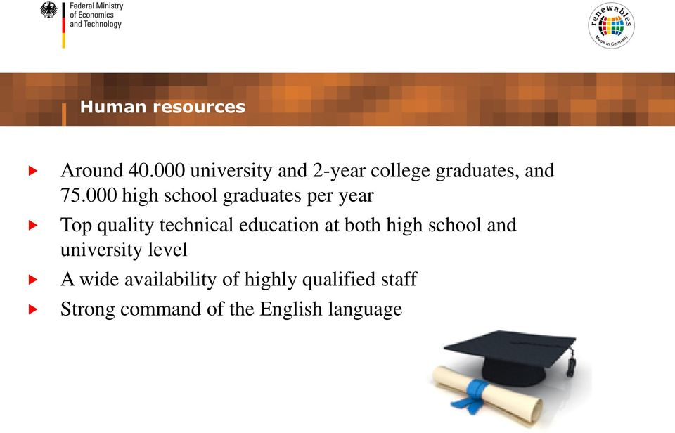 000 high school graduates per year Top quality technical education