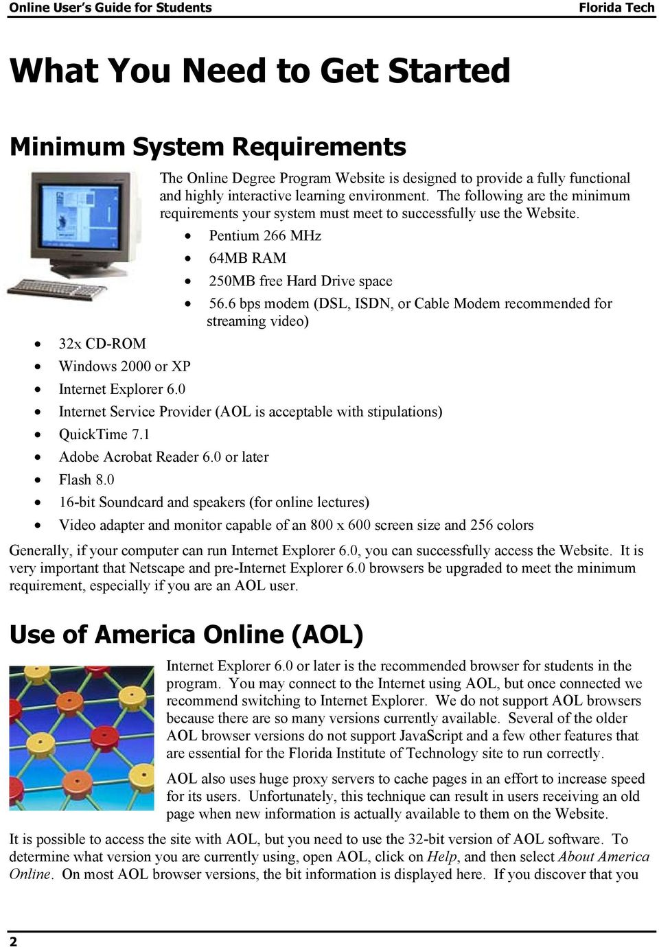 6 bps modem (DSL, ISDN, or Cable Modem recommended for streaming video) 32x CD-ROM Windows 2000 or XP Internet Explorer 6.0 Internet Service Provider (AOL is acceptable with stipulations) QuickTime 7.