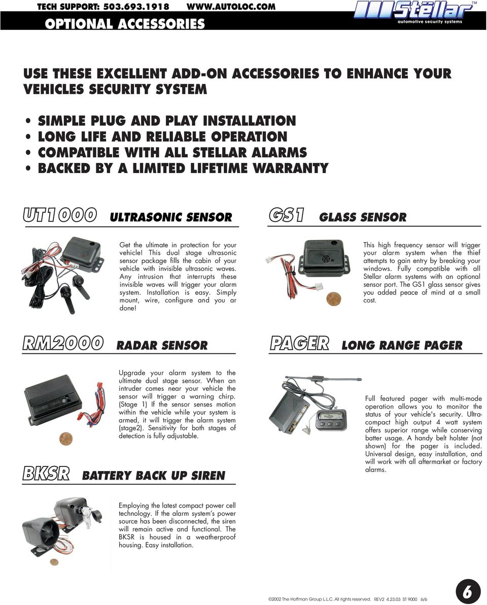STELLAR ALARMS BACKED BY A LIMITED LIFETIME WARRANTY UT1000 ULTRASONIC SENSOR GS1 GLASS SENSOR Get the ultimate in protection for your vehicle!