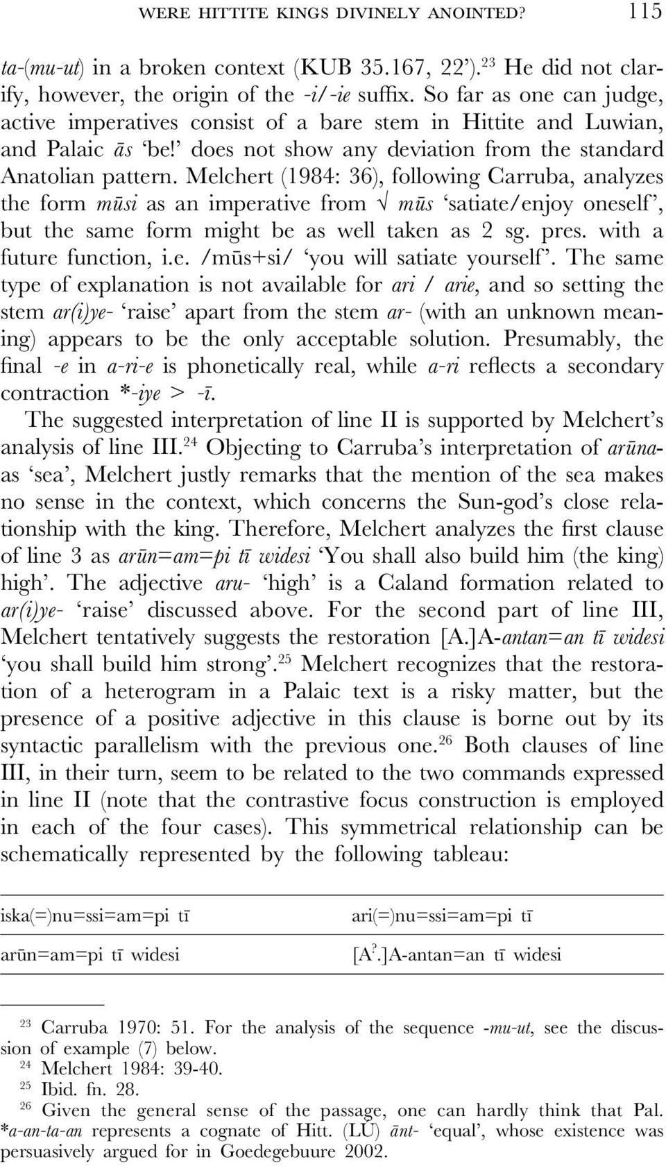 Melchert (1984: 36), following Carruba, analyzes the form mùsi as an imperative from mùs satiate/enjoy oneself, but the same form might be as well taken as 2 sg. pres. with a future function, i.e. /mùs+si/ you will satiate yourself.