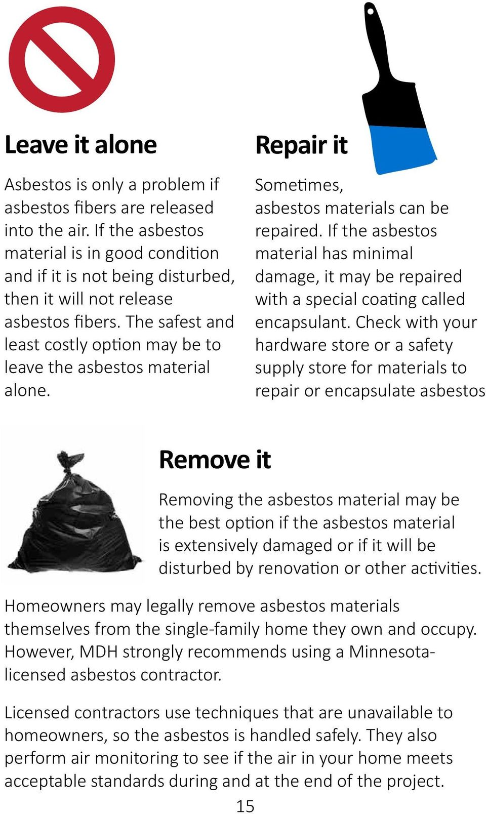 The safest and least costly option may be to leave the asbestos material alone. Repair it Sometimes, asbestos materials can be repaired.