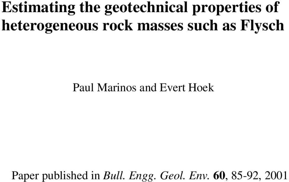 Paul Marinos and Evert Hoek Paper