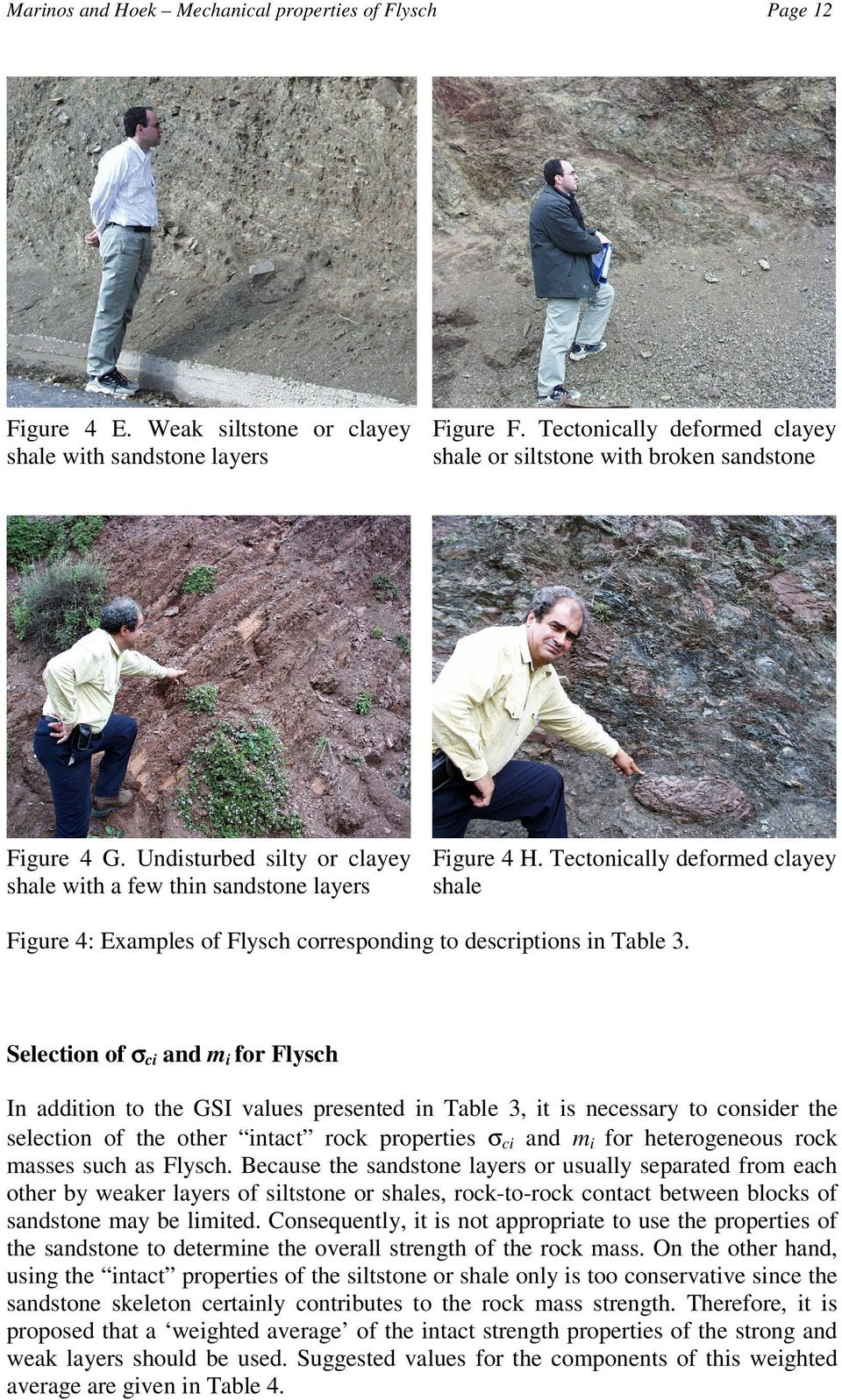 Tectonically deformed clayey shale with a few thin sandstone layers shale Figure 4: Examples of Flysch corresponding to descriptions in Table 3.