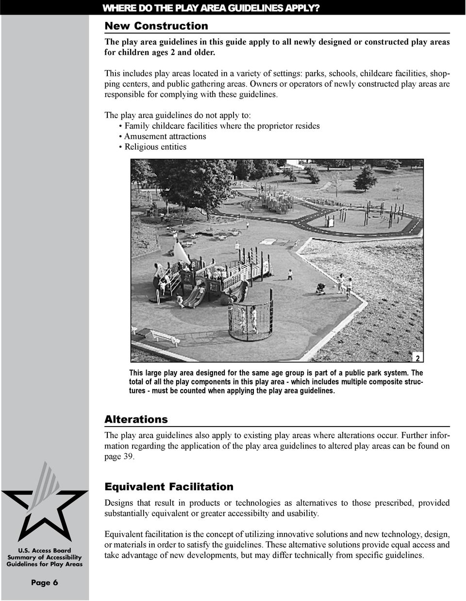 Owners or operators of newly constructed play areas are responsible for complying with these guidelines.