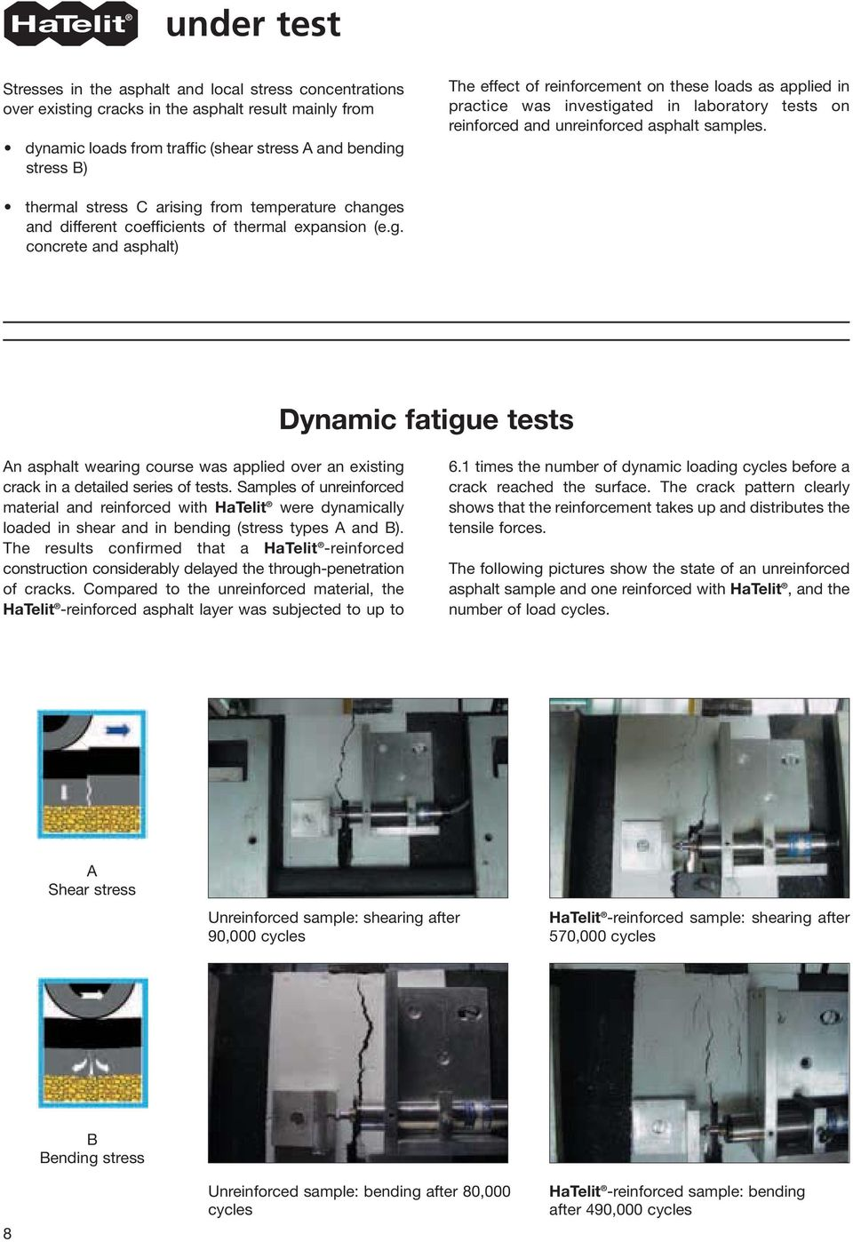 thermal stress C arising from temperature changes and different coefficients of thermal expansion (e.g. concrete and asphalt) Dynamic fatigue tests An asphalt wearing course was applied over an existing crack in a detailed series of tests.