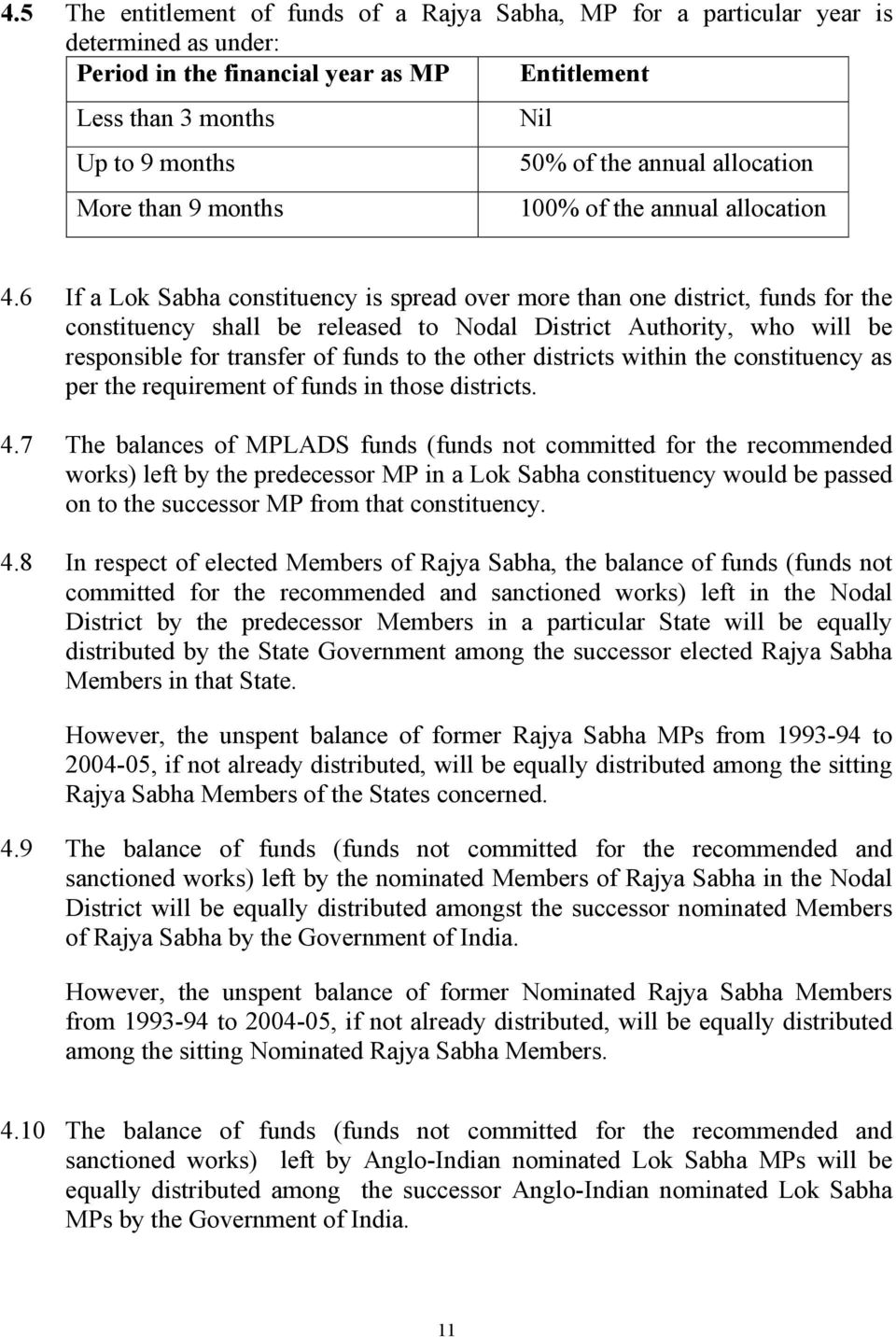 6 If a Lok Sabha constituency is spread over more than one district, funds for the constituency shall be released to Nodal District Authority, who will be responsible for transfer of funds to the