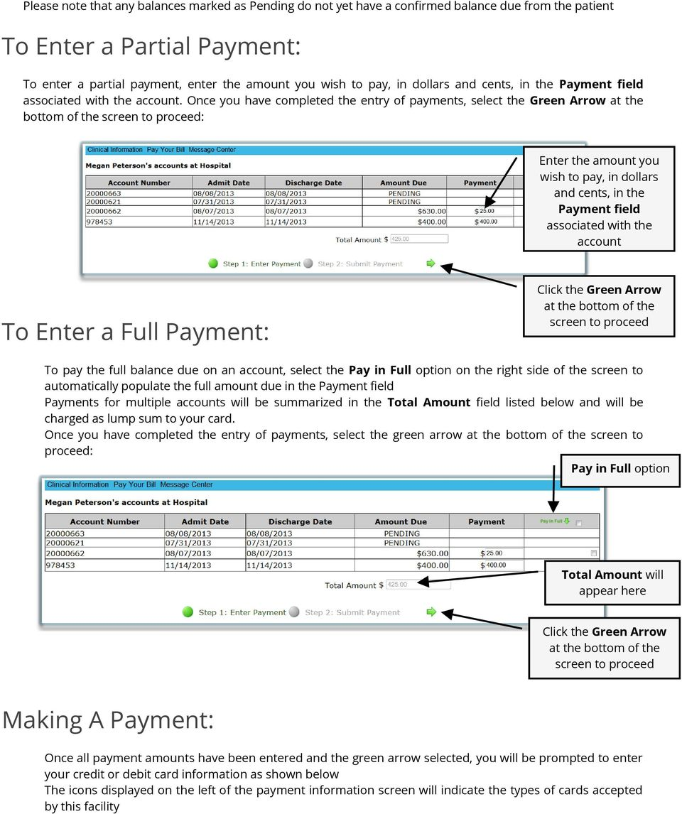 Once you have completed the entry of payments, select the Green Arrow at the bottom of the screen to proceed: Enter the amount you wish to pay, in dollars and cents, in the Payment field associated