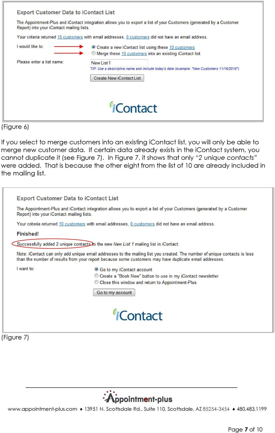In Figure 7, it shows that only 2 unique contacts were added.