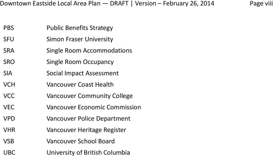 Occupancy Social Impact Assessment Vancouver Coast Health Vancouver Community College Vancouver Economic