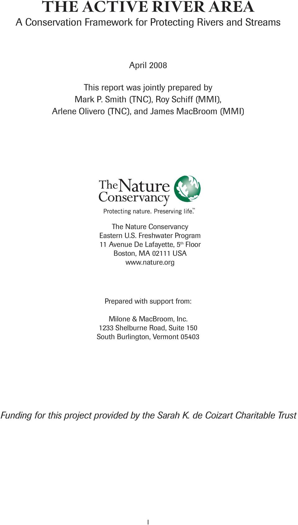 nature.org Prepared with support from: Milone & MacBroom, Inc.