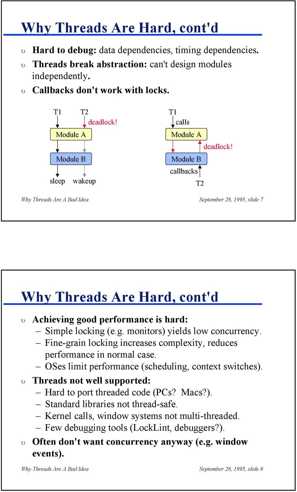 Module B callbacks T2 Why Threads Are A Bad Idea September 28, 1995, slide 7 Why Threads Are Hard, cont'd Achieving good performance is hard: Simple locking (e.g. monitors) yields low concurrency.