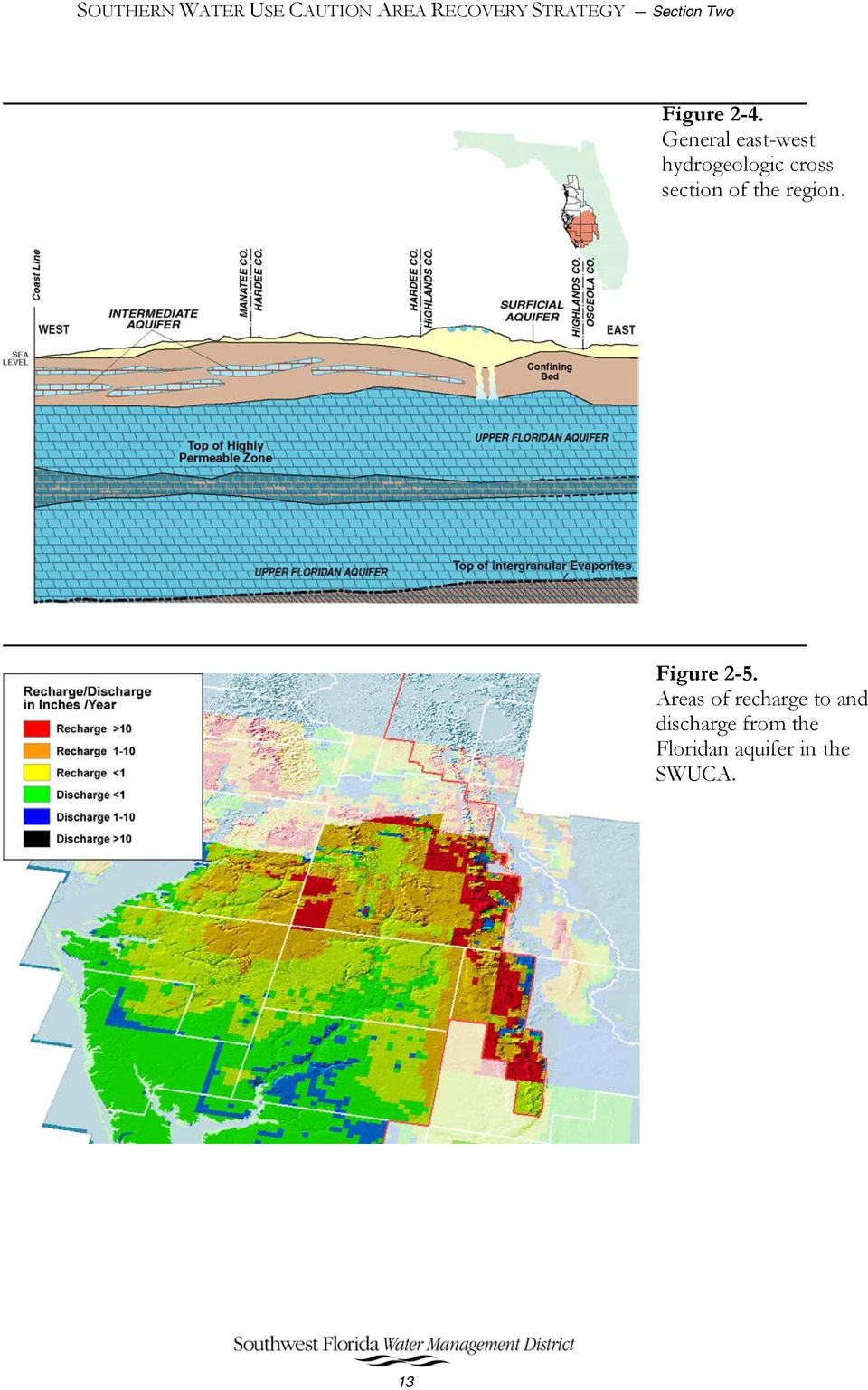 General east-west hydrogeologic cross section of the