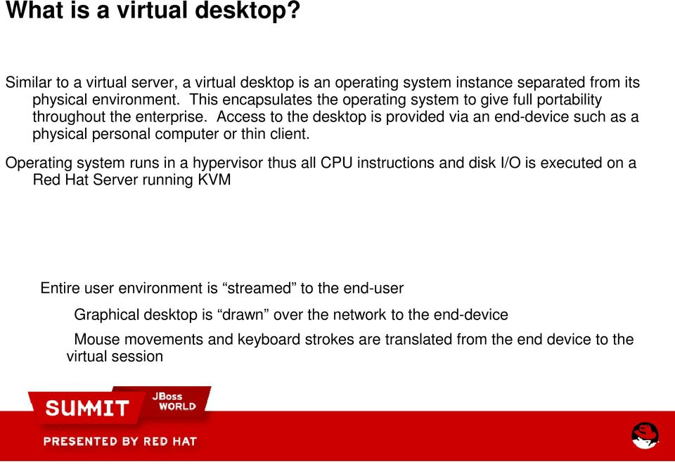 Access to the desktop is provided via an end-device such as a physical personal computer or thin client.