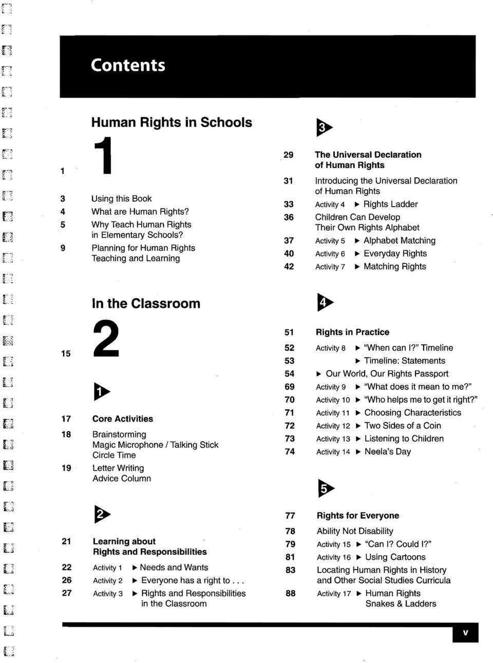 Develop Their Own Rights Alphabet 37 Activity 5 ~ Alphabet Matching 40 Activity 6 ~ Everyday Rights 42 Activity 7 ~ Matching Rights 15 17 18 19 In the Classroom 2 ~ Core Activities Brainstorming