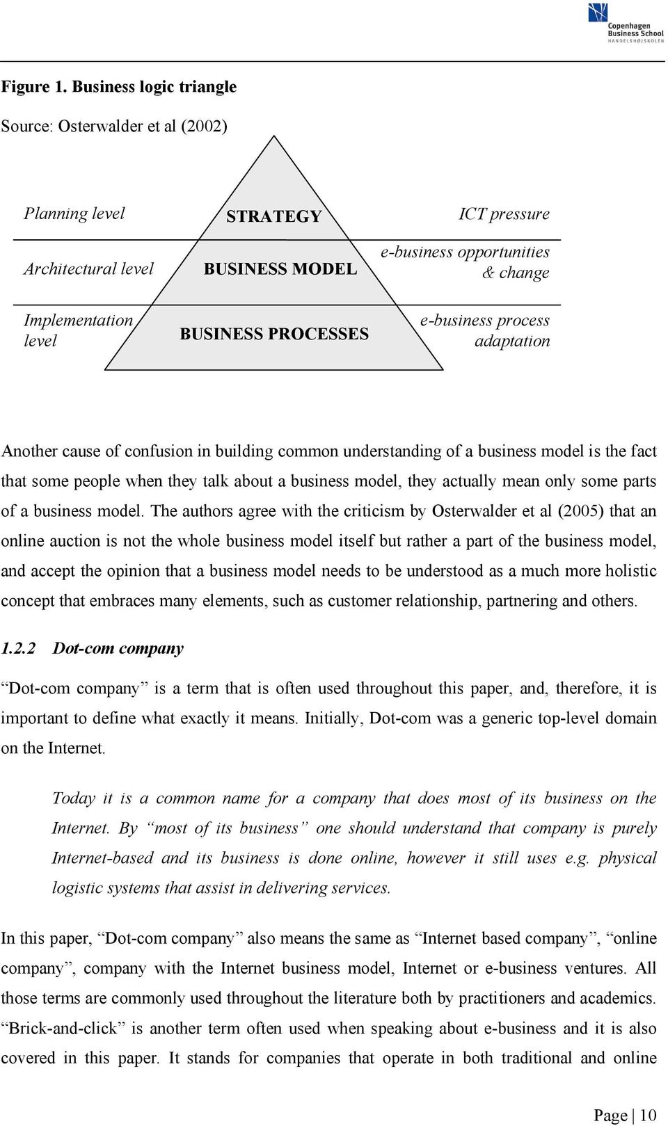 PROCESSES e-business process adaptation Another cause of confusion in building common understanding of a business model is the fact that some people when they talk about a business model, they
