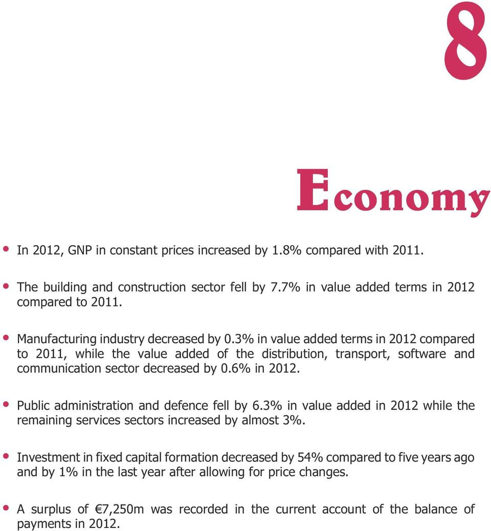 3% in value added terms in 2012 compared to 2011, while the value added of the distribution, transport, software and communication sector decreased by 0.6% in 2012.