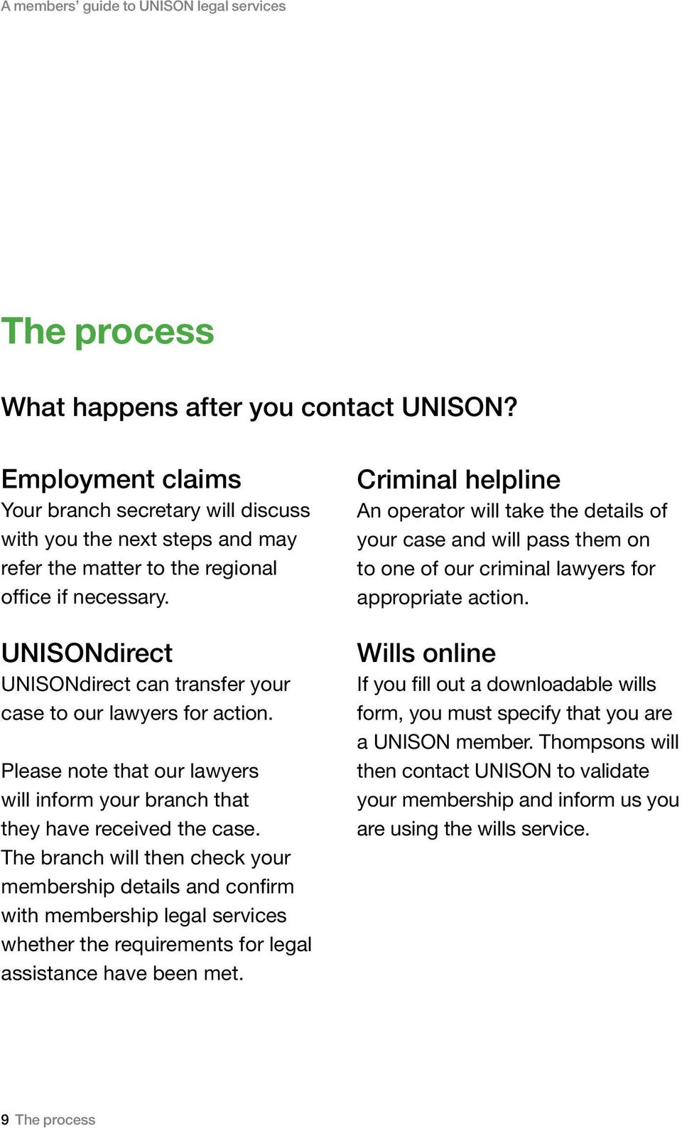UNISONdirect UNISONdirect can transfer your case to our lawyers for action. Please note that our lawyers will inform your branch that they have received the case.