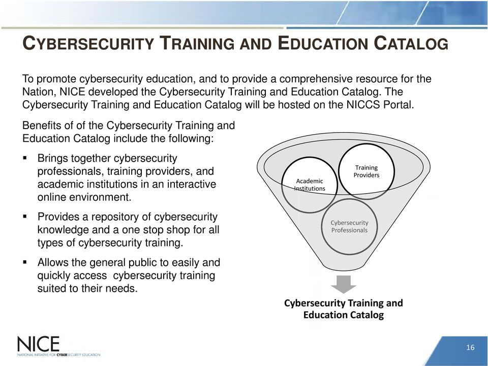 Benefits of of the Cybersecurity Training and Education Catalog include the following: Brings together cybersecurity professionals, training providers, and academic institutions in an interactive