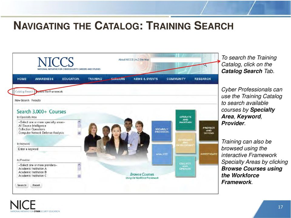 Cyber Professionals can use the Training Catalog to search available courses by Specialty