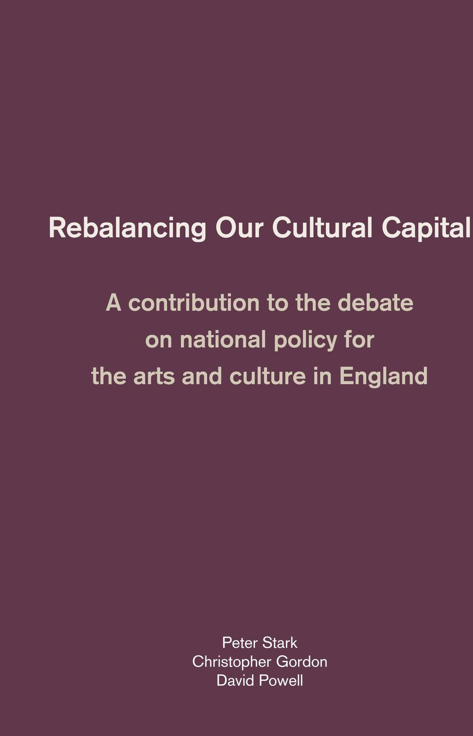 policy for the arts and culture in