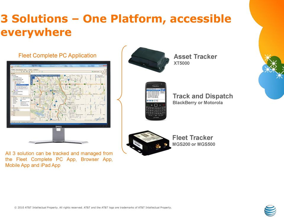 Motorola Fleet Tracker MGS200 or MGS500 All 3 solution can be tracked