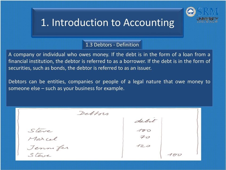 If the debt is in the form of securities, such as bonds, the debtor is referred to as an issuer.