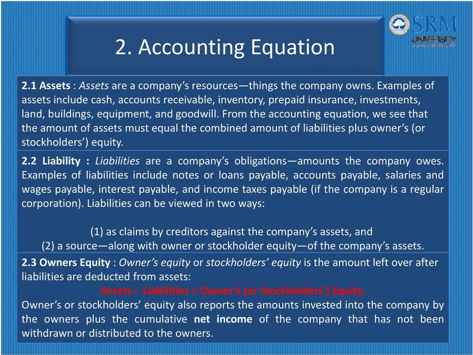 From the accounting equation, we see that the amount of assets must equal the combined amount of liabilities plus owner s (or stockholders ) equity. 2.