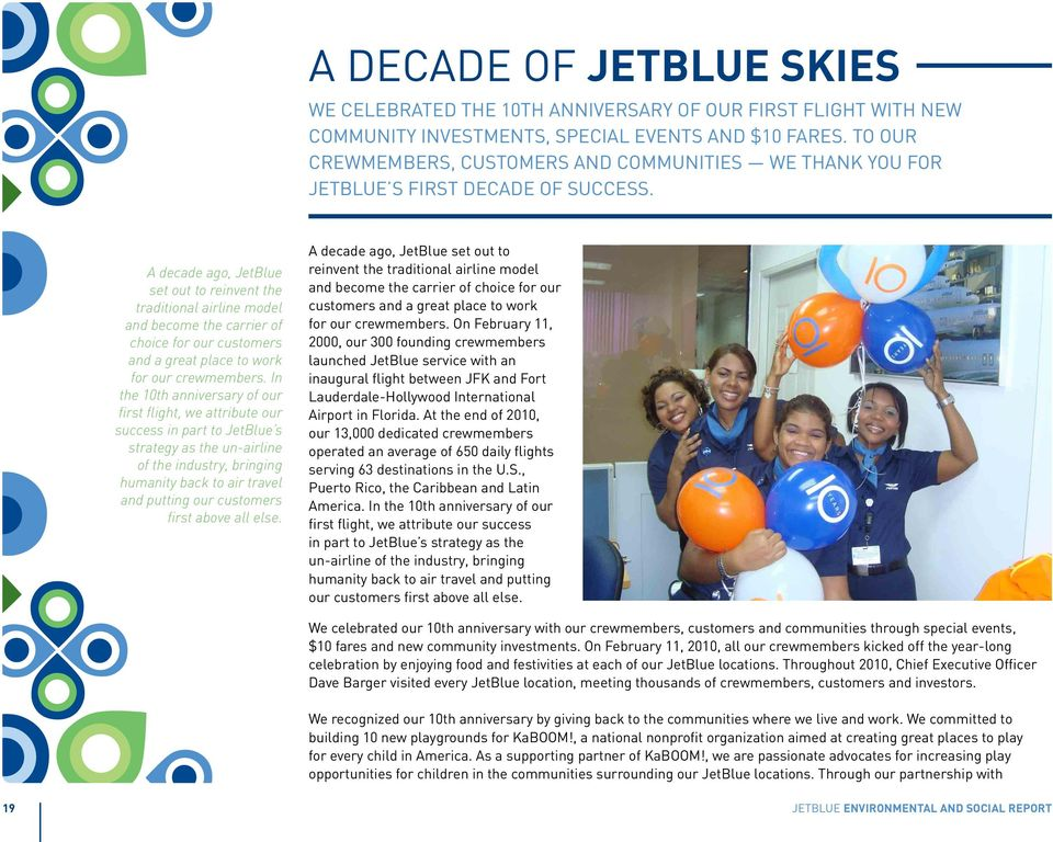 A decade ago, JetBlue set out to reinvent the traditional airline model and become the carrier of choice for our customers and a great place to work for our crewmembers.